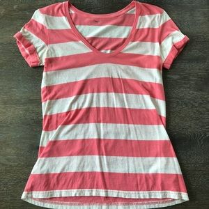 Gap coral and white striped v neck t shirt